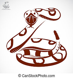 Vector image of an rattlesnake on white background