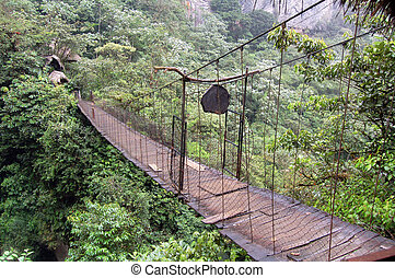Bridging - Flimsy bridge near Las Cascadas, Banos, Equator