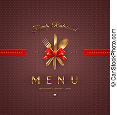 Cover menu with golden cutlery