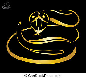 Vector image of a golden snake on black background