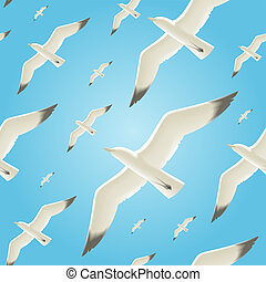 Seamless background with seagulls - Vector seamless...