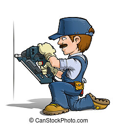 Handyman - Nailing - Cartoon illustration of a handyman...