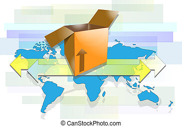 Box with arrows and world map for international shipment