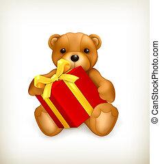 Teddy bear with gift, vector