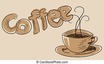 Coffee cup vector in brown