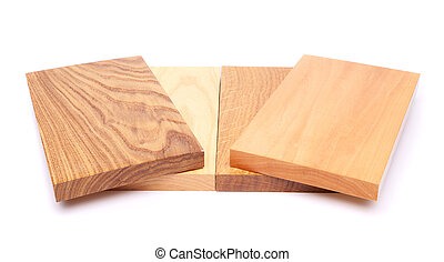 Four wooden plank close-up are located on the white...
