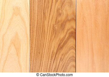 Three wooden plank close-up are located on the white...