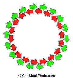 Arrows circulation - Green and red arrows moving in opposite...