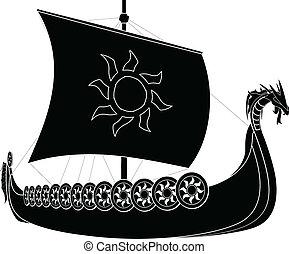 viking ship stencil second variant