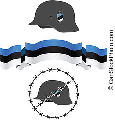 estonian wsw helmet and flag vector illustration