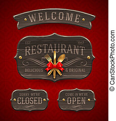 Vintage wooden Restaurant signs