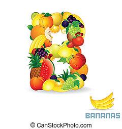 alfabeto, De, fruta, carta, B
