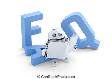 Robot sitting on 3D FAQ sign. Isolated over white background