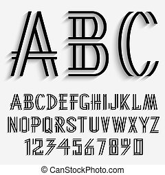 Black alphabet letters and numbers with shadow. Vector set
