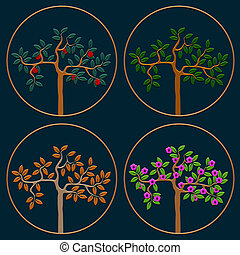 Vector set of icons seasonal trees