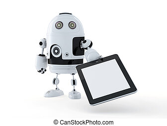 Android robot holding a blank digital tablet pc.