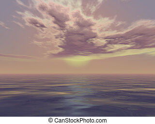 Beautiful seascape in 3d render illustration.