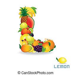 Alphabet From Fruit. Letter L