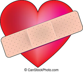 Heart Bandaid - A big red heart with a bandaid across it