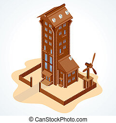 Image of Wooden Eco House with Windmill