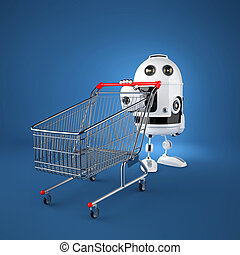 Android robot with shopping cart Rendered over blue...