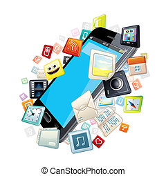 Mobile Smart Phone with Software Apps Icons Around.