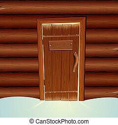 Santa Claus Wooden Hut with Blank Sign on Door .