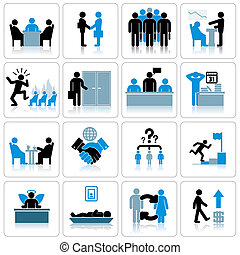 Business Management and Human Resources Icon Set.