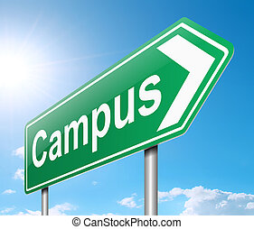 Campus sign. - Illustration depicting a sign directing to...