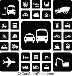 Icon traffic set black and white