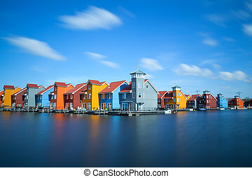 colorful buildings at Reitdiephaven, Groningen - colorful...