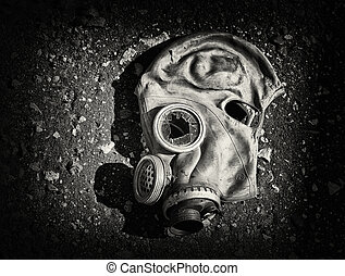 Gas mask. - Black masks with broken glass. Black and white...