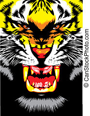 tiger head - illustrated tiger head on the black background