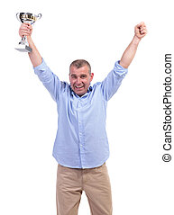 casual middle aged man cheers with trophy - casual senior...