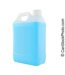 Side plastic gallon with blue liquid on white background.