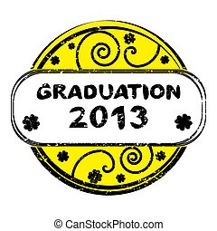 graduation 2013 - Graduation 2013 grungy stamp with spirals...