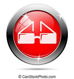 Metallic glossy icon - Metallic round glossy icon with white...