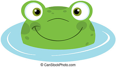 Cute Frog Smiling From Water Cartoon Character