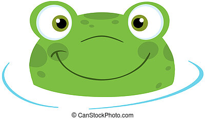 Cute Frog Smiling From Water