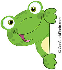 Cute Frog Smiling Behind Blank Sign Cartoon Character