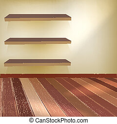 Room with the shelfs and wooden floor. EPS 10