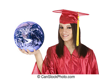Graduation - Beautiful Caucasian teenager in a graduation...