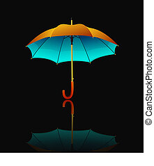 vector umbrella - vector umbrella with reflection on black...