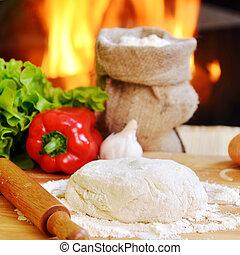 pizza dough - delicious pizza dough, spices and vegetables...