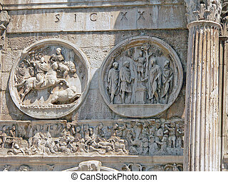 relief - relief on consantine arch in rome