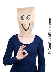 euro head showing okey sign - a perso with a smiling euro...