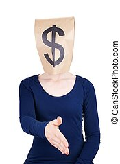 person with paper bag head and dollar sign - a person with a...