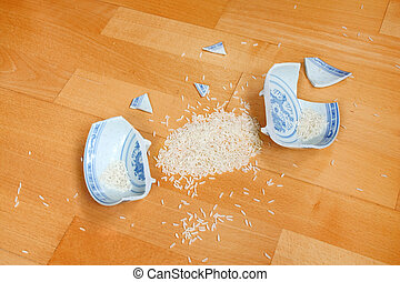 Rice bowl is broken - symbol of destroyed minimum living...