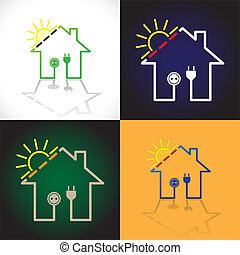 Set of eco houses as simple solar electricity circuit -...