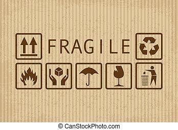 Set of fragile symbols on grunge cardboard
